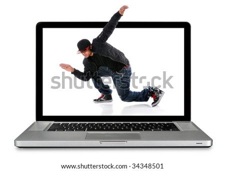 Modern laptop computer with hip hop dancer over white background - stock photo