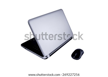 Modern laptop computer with mouse isolated over white - stock photo