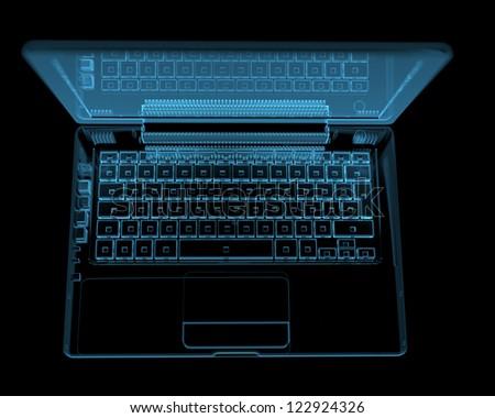 Modern laptop (3D xray blue transparent) - stock photo