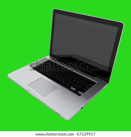 Modern laptop isolated on green with reflections - stock photo