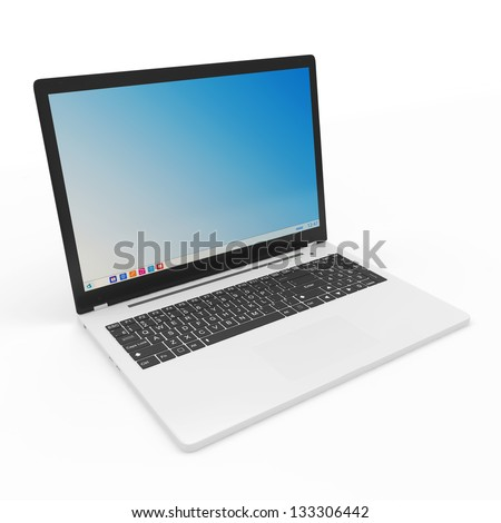 Modern Laptop isolated on white background - stock photo
