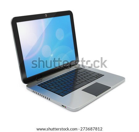 Modern laptop isolated on white background. - stock photo