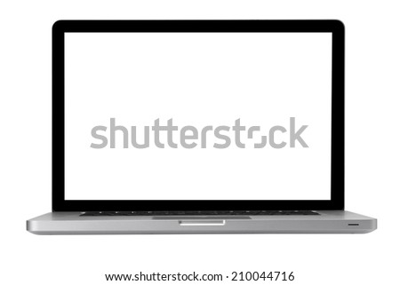 modern laptop isolated on white background with path  - stock photo