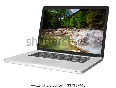 modern laptop isolated on white backgrounds  - stock photo