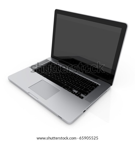 Modern laptop isolated on white with reflections - stock photo