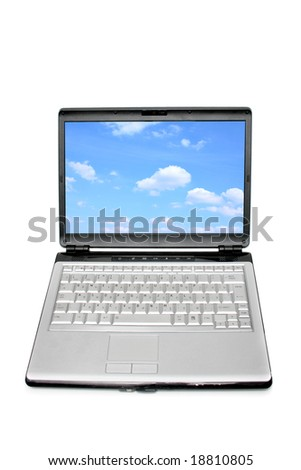 Modern laptop isolated over a white background - stock photo