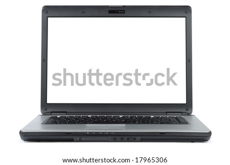 Modern laptop isolated with clipping path over white - stock photo