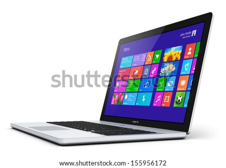 Modern laptop, notebook or computer PC with touchscreen interface with color icons isolated on white background - stock photo