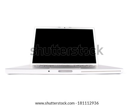 Modern laptop shot in studio over a white background - stock photo