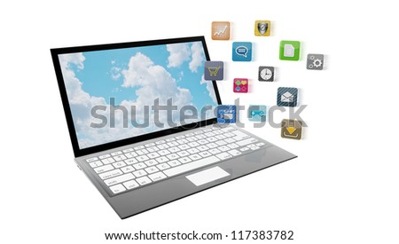 Modern laptop with apps flying towards the screen, isolated on white. Note to reviewer: app icons are designed by the artist. - stock photo