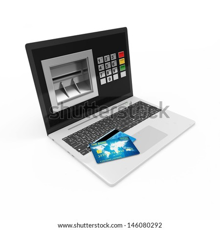 Modern Laptop with ATM and Credit Card isolated on white background. E-commerce concept - stock photo