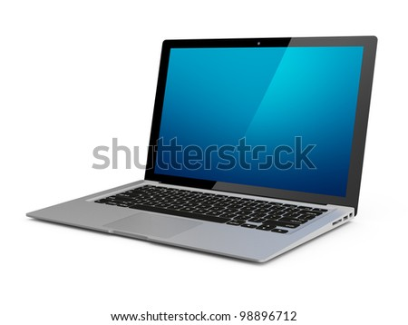 Modern laptop with clipping path for screen - stock photo