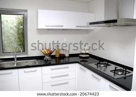 modern large kitchen of home