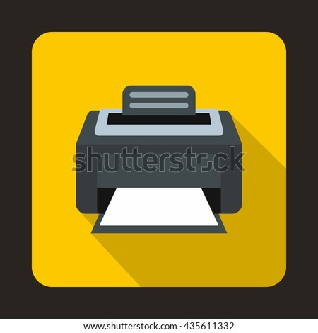 Modern laser printer icon, flat style - stock photo