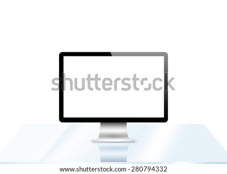 Modern LCD computer monitor (LCD display panel) on glass table isolated on white background - stock photo