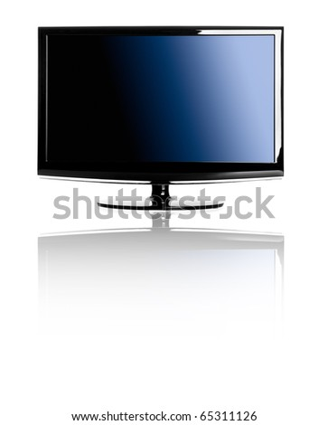 Modern lcd TV isolated over a white background with reflection - stock photo