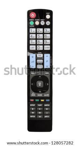 Modern LCD TV remote control isolated on the white - stock photo