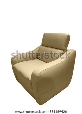 Modern leather armchair isolated on white background - stock photo