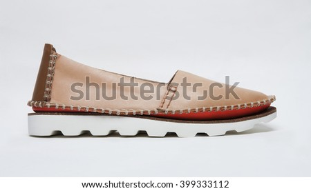 modern leather summer shoe isolated with shadows - stock photo