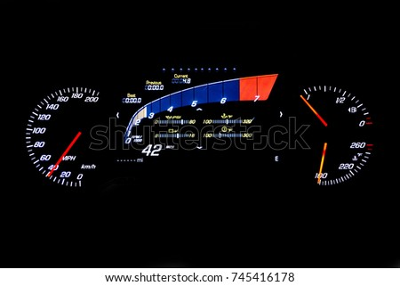 Modern Light Car Mileage Dashboard Milage Stock Photo - Car signs on dashboardcar dashboard signs speedometer tachometer fuel and temperature