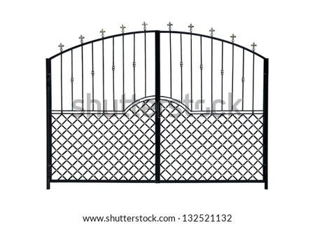 Modern  light  forged  decorative gates.  Isolated over white background. - stock photo