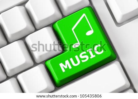 Modern light keyboard with green button Music - stock photo