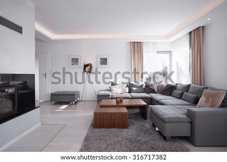 Modern light minimalistic interior in elegant style - stock photo