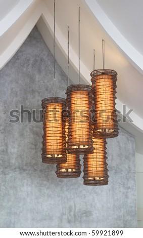 Modern lighting fixtures - home interiors. - stock photo
