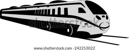 Modern lines depicts a grey train on the tracks.