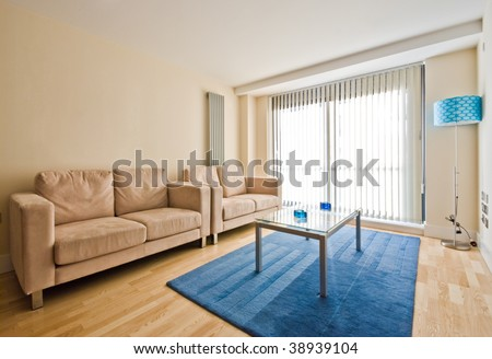modern living area with blue fragments - stock photo