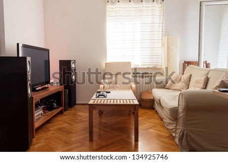 Modern living room - ambient light - stock photo