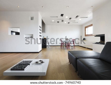 modern living room and dining room - stock photo