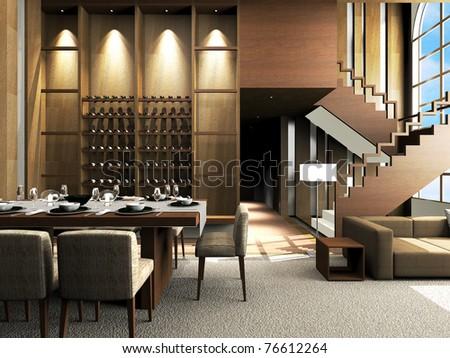 Modern living room design - stock photo