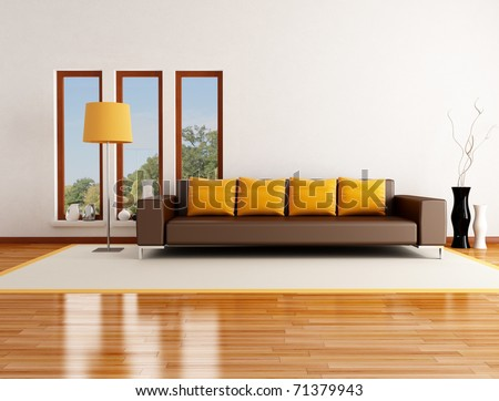 modern living room in a country house - rendering - the image on background is a my photo - stock photo