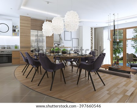 Modern living room in a loft style, blending smoothly into the kitchen dining interior. Large corner sofa, chair with floor lamp and a big high fireplace with firewood. 3D render
