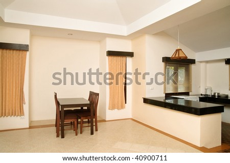 Modern living room in hotel apartment