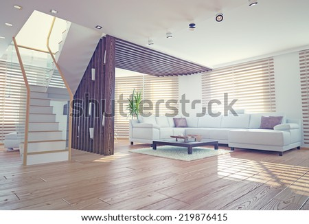 Modern Living Room Interior Contemporary Design Stock Illustration ...