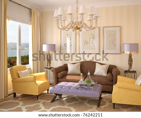 Modern living-room interior. 3d render. Photo behind the window was made by me. - stock photo