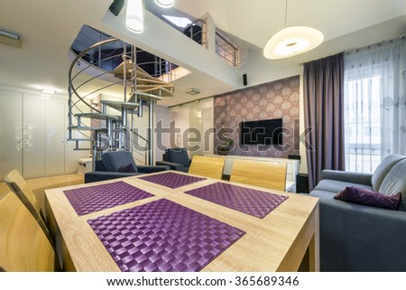 Modern living room interior design apartment with staircases - stock photo