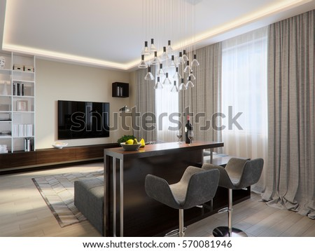 Modern Living Room Interior Design With Bar Counter And Large Corner Sofa 3d Rendering
