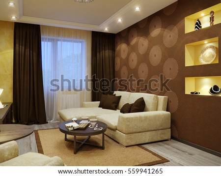 Modern Living Room Interior Design With Brown And Yellow Walls Wooden Parquet Spotlights