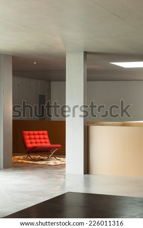 Modern living room, interior house, concrete wall