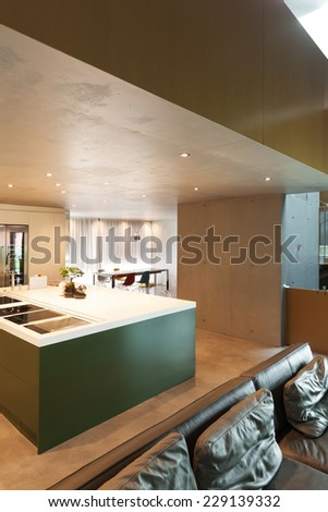 Modern living room, interior, house of cement