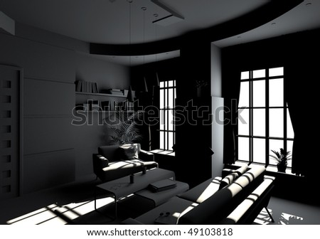 modern living room interior in BW style(3D rendering)