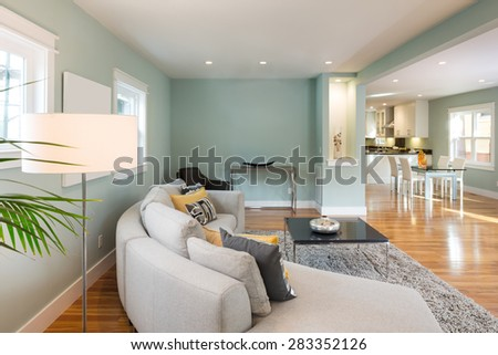 Modern living room interior in mid century home with open floor-plan.  - stock photo