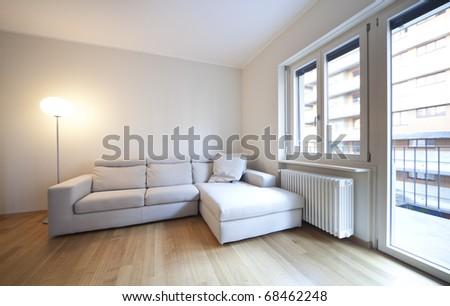 modern living-room, interior view - stock photo
