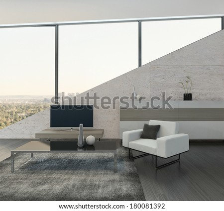 Modern living room interior with cabinet and tv rack - stock photo