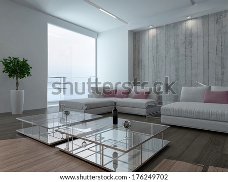 Modern living room interior with concrete wall - stock photo