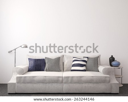 Modern living-room interior with couch near empty white wall. 3d render. - stock photo