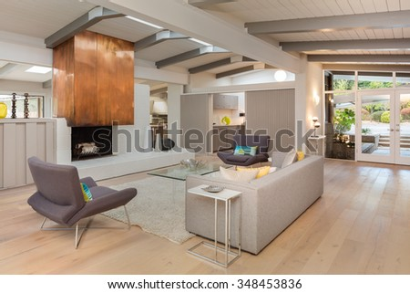 Modern living room interior with entry, grey couch, fire place, hand-woven natural fine sisal rug, glass table, designer chairs in open space. - stock photo